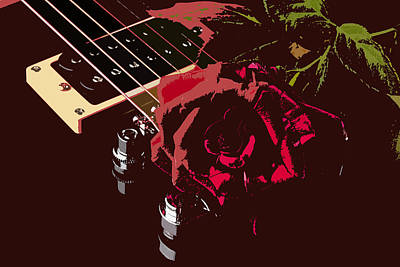 Photograph - Color Red Rose And Guitar by M K Miller