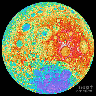 Color Shaded Relief Of The Lunar Art Print