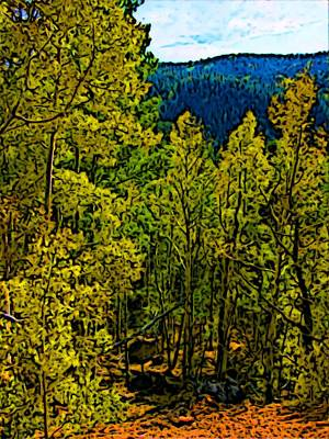 Digital Altered Drawing - Colorado Aspens by Howard Perry