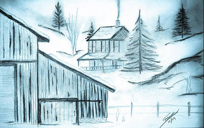 Drawing - Colorado Farm by Shannon Harrington