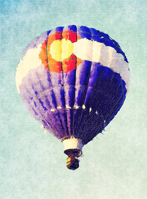 Colorado State Flag Photograph - Colorado Flag Hot Air Balloon by David G Paul