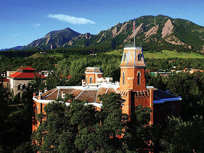 Photograph - Colorado Old Main And Flatirons by University of Colorado