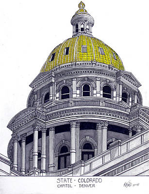 Drawing - Colorado State Capitol by Frederic Kohli