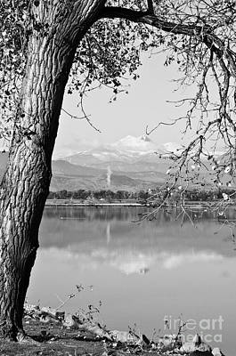 Photograph - Colorado Twin Peaks Reflections In Black And White by James BO  Insogna