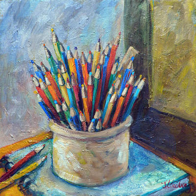 Colored Pencils In Butter Crock Art Print by Jean Groberg