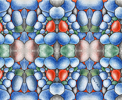 Colored Pencil Abstract Digital Art - Colored Rocks Design by Nancy Mueller