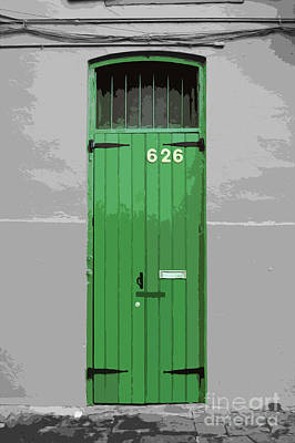 Digital Art - Colorful Arched Doorway French Quarter New Orleans Color Splash Black And White With Cutout by Shawn O'Brien