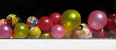 Colorful Balls In The Shop Window Art Print
