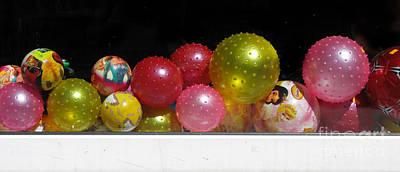 Colorful Balls In The Shop Window Print by Ausra Huntington nee Paulauskaite