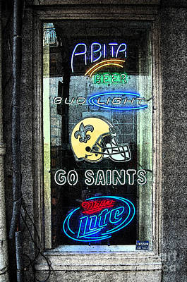 Colorful Bar Window Display With Neon Signs In French Quarter New Orleans Fresco Digital Art Art Print by Shawn O'Brien