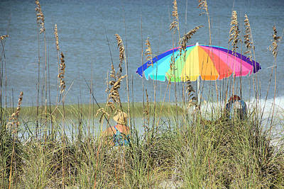 Bath Time Rights Managed Images - Colorful Beach Umbrella Royalty-Free Image by Rosalie Scanlon