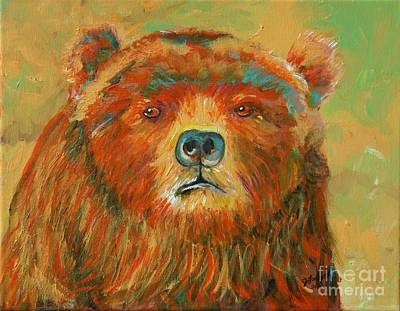 Art Print featuring the painting Colorful Bear by Jeanne Forsythe