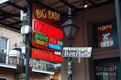 Colorful Big Easy Neon Sign On Bourbon Street Corner French Quarter New Orleans Art Print