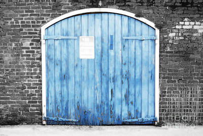 Photograph - Colorful Blue Garage Door French Quarter New Orleans Color Splash Black And White And Diffuse Glow by Shawn O'Brien