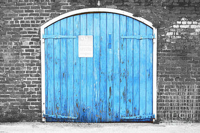 Photograph - Colorful Blue Garage Door French Quarter New Orleans Color Splash Black And White And Film Grain by Shawn O'Brien