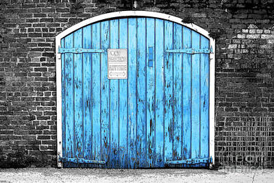 Photograph - Colorful Blue Garage Door French Quarter New Orleans Color Splash Black And White And Ink Outlines by Shawn O'Brien