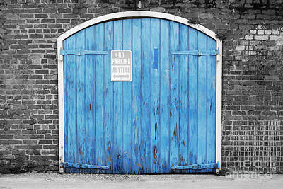 Photograph - Colorful Blue Garage Door French Quarter New Orleans Color Splash Black And White by Shawn O'Brien