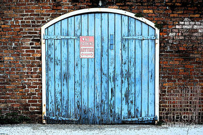 Photograph - Colorful Blue Garage Door French Quarter New Orleans Ink Outlines Digital Art by Shawn O'Brien