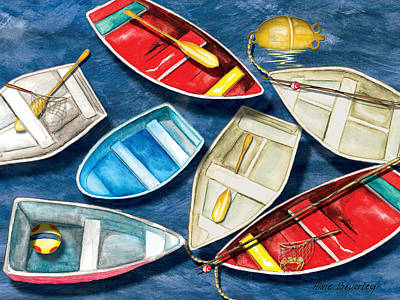 Bouys Painting - Colorful Boats by Anne Beverley-Stamps