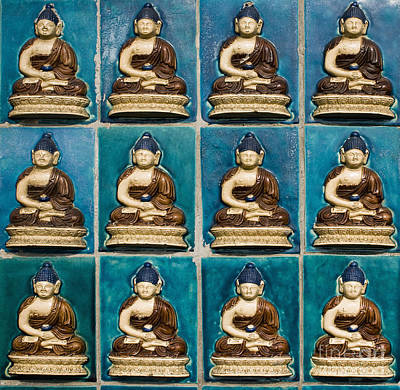 In Relief Photograph - Colorful Buddha Tiles by Sam Bloomberg-rissman