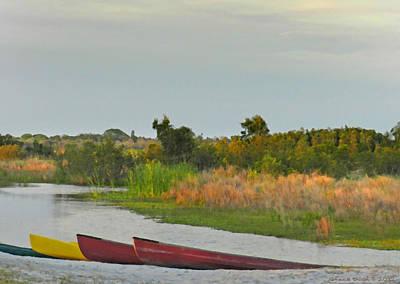 Canoe Digital Art - Colorful Canoes by Grace Dillon