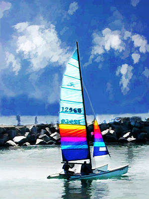 Trawler Digital Art - Colorful Catamaran by Elaine Plesser