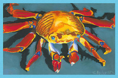 Colorful Crab With Border Art Print by Stephen Anderson