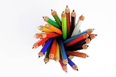 Colorful Crayons In Jar Art Print by Sami Sarkis