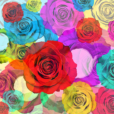 Abstract Rose Wall Art - Painting - Colorful Floral Design  by Setsiri Silapasuwanchai