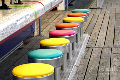 Photograph - Colorful Game Stools by Susan Stevenson