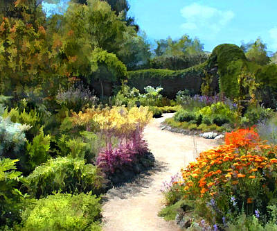 Impressionistic Digital Painting - Colorful Garden Path by Elaine Plesser