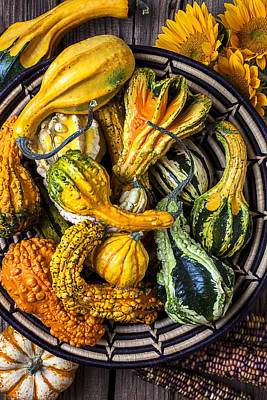 Colorful Gourds In Basket Print by Garry Gay