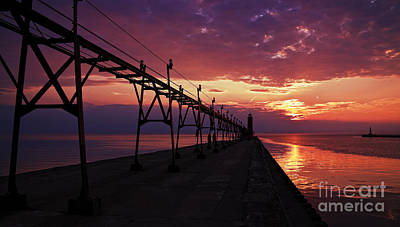 Grand Haven Photograph - Colorful Grand Haven Pier by Joe Gee
