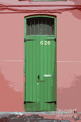 Digital Art - Colorful Green Arched Doorway French Quarter New Orleans Cutout Digital Art by Shawn O'Brien