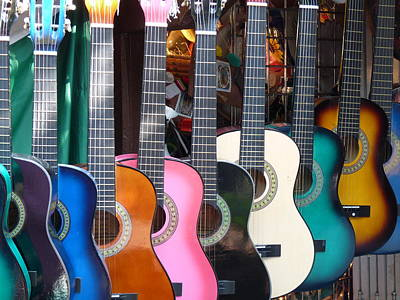 Photograph - Colorful Guitars by Jeff Lowe