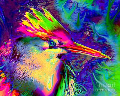 Digital Art - Colorful Heron by Doris Wood