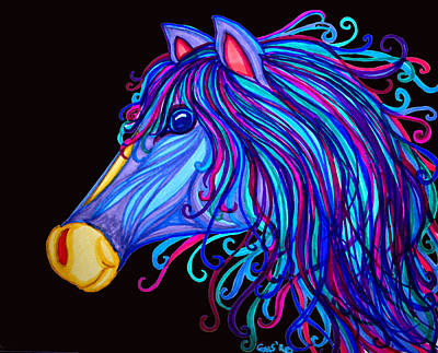 Horse Drawing - Colorful Horses Head by Nick Gustafson