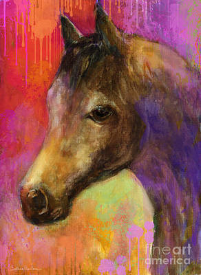 Arabian Mixed Media - Colorful Impressionistic Pensive Horse Painting Print by Svetlana Novikova