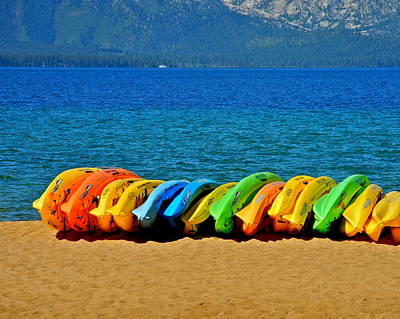 Photograph - Colorful Lake Tahoe Kayaks by Kirsten Giving