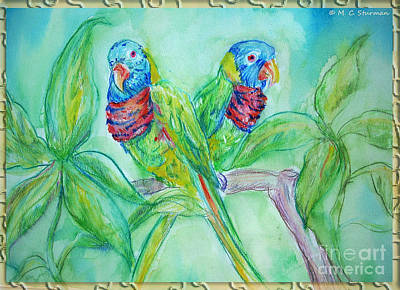 Painting - Colorful Lorikeet Couple by M C Sturman