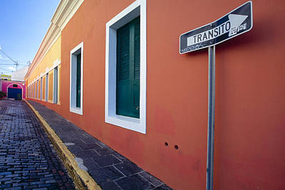 Photograph - Colorful Narrow Street With A Sign by George Oze