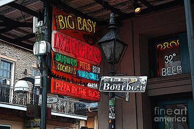 Colorful Neon Sign On Bourbon Street Corner French Quarter New Orleans Poster Edges Digital Art Art Print