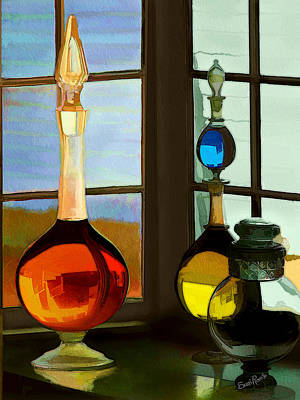 Colorful Old Bottles Art Print