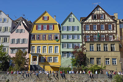 Red Roses - Colorful old houses in Tuebingen Germany by Matthias Hauser