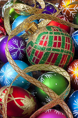 Embellishments Photograph - Colorful Ornaments With Ribbon by Garry Gay