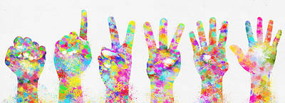 Colorful Painting Of Hands Number 0-5 Art Print