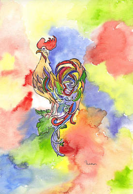 Colorful Rooster Art Print by Theresa Jones