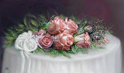 Table Cloth Painting - Colorful Roses by Bonnie Willis