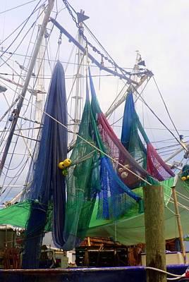 No People Photograph - Colorful Shrimp Boat Nets by Carla Parris