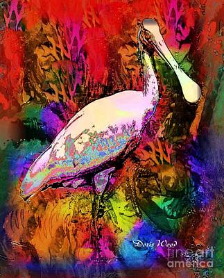 Spoonbill Digital Art - Colorful Spoonbill by Doris Wood